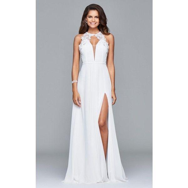 Faviana 8001 White And Ivory Dress Long Halter Sleeveless 360