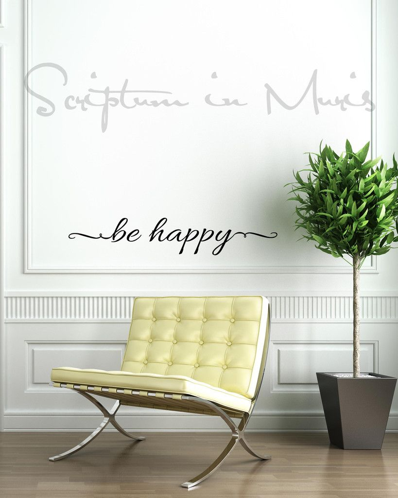 Be Happy Vinyl Wall Decal | Inspirational wall quotes, Wall decals ...