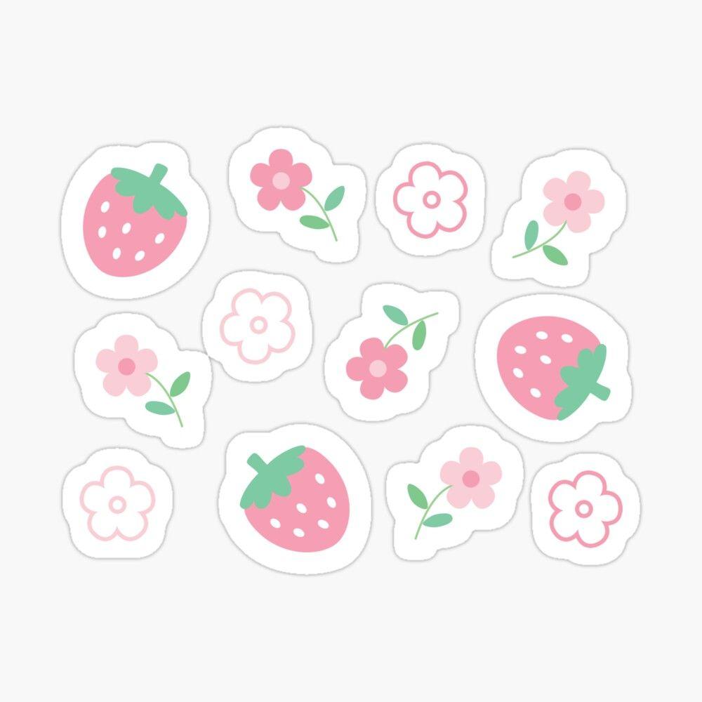 Happy Cute Kawaii Fruit Cartoon Emoji Strawberry Vinyl Decal Sticker Fruit Cartoon Fruits Drawing Kawaii Fruit