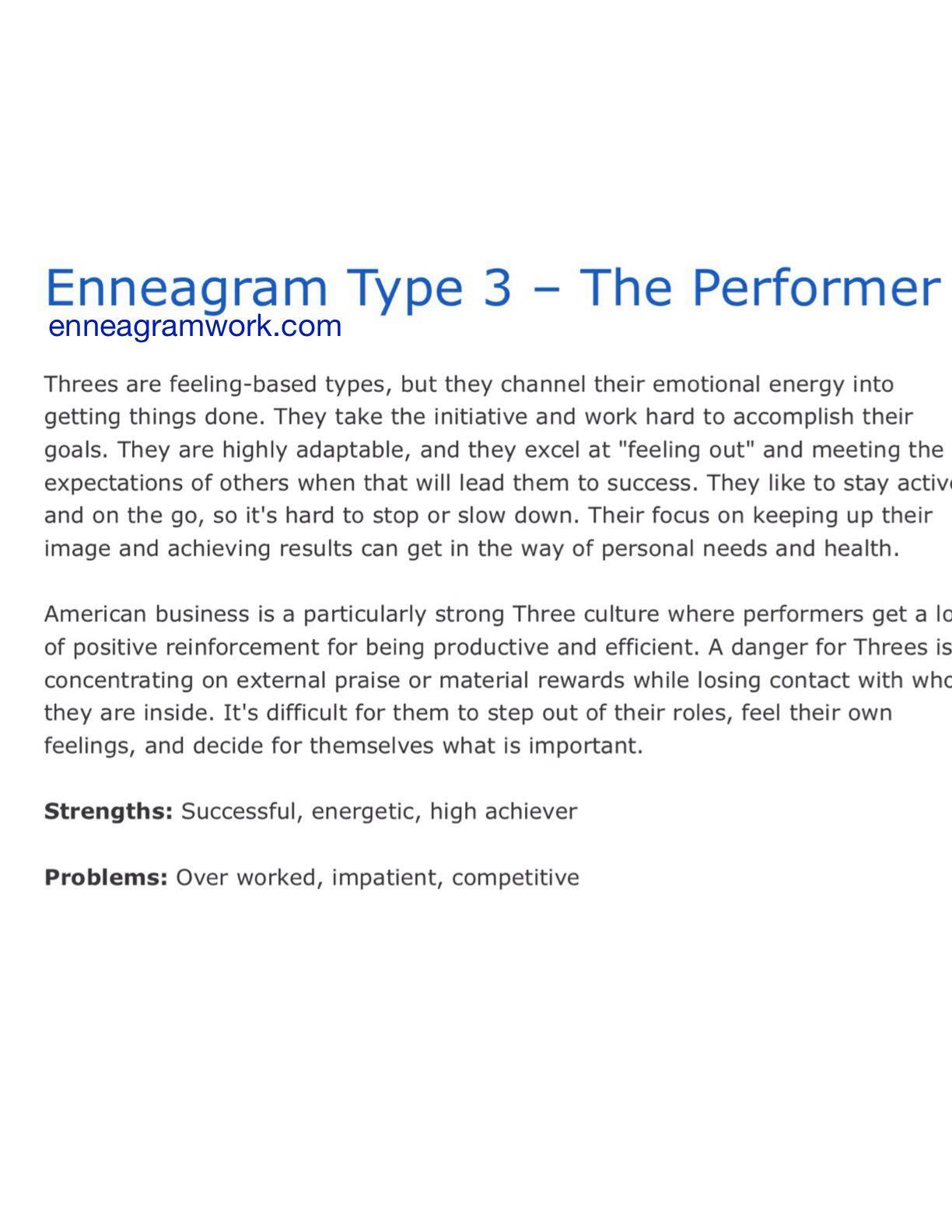 Enneagram type 3 enneagramwork.com