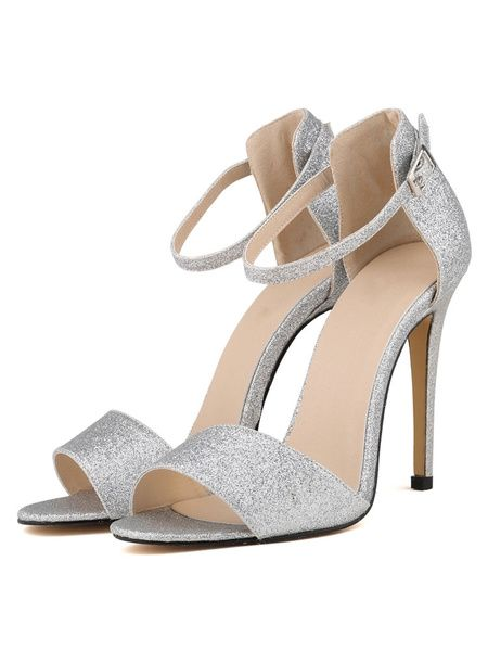 a03fb8dd554 High Heel Sandals Glitter Silver Open Toe Ankle Strap Block Heel Sandal  Shoes
