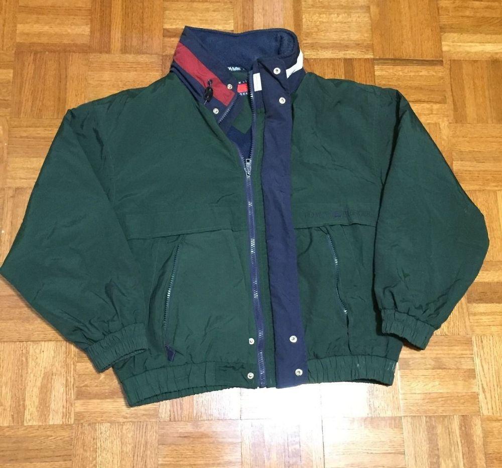 Vintage Tommy Hilfiger Zipper Sailing Dark Green Windbreaker Large Hooded  Jacket