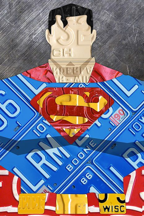 Superman Man Of Steel License Plate Art Portrait On Distressed Metal Sheet.