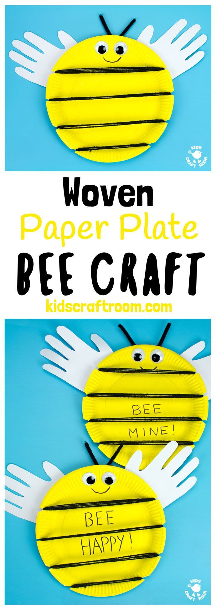 """This Woven Paper Plate Bee Craft has cute handprint wings making it a gorgeous keepsake and because it's woven it's a great insect craft to build fine motor skills too. Its wide yellow stripes leave plenty of room to write personalised messages like """"BEE MINE"""" for Valentine's Day or """"BEE HAPPY"""" for a birthday! Such fun! #bee #beecrafts #paperplatecrafts #handprintcrafts #valentinesdaycrafts #valentinesforkids #valentinecrafts #insectcrafts #finemotorskills #kidscrafts101 via @KidsCraftRoom"""
