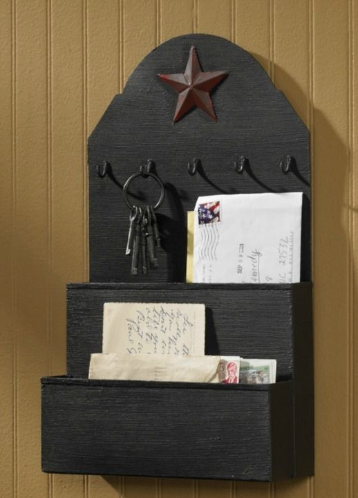 New Country Primitive Star Black Metal Mail Letter Holder Box Wall