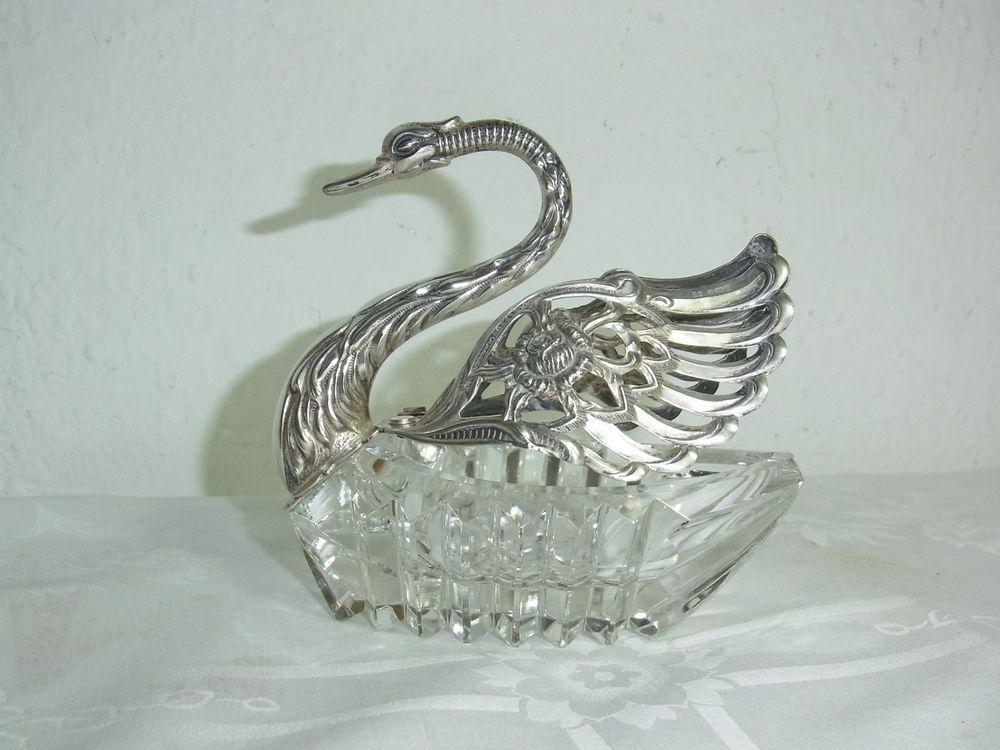 Große Zierschale 925 Silber,Bonboniere,Schwan mit Kristall