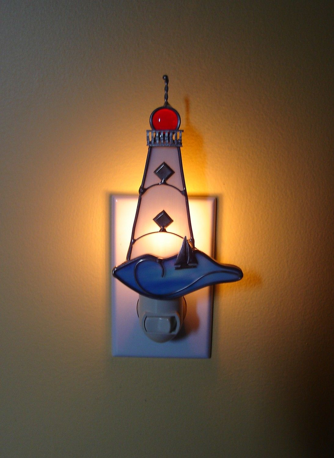 Glass Night Lights Light The Way Lighthouse Stained Glass Night Light
