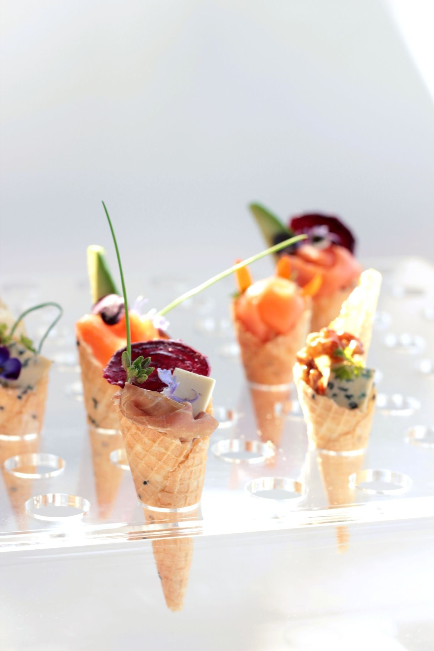 A selection of savory cone canap s wedding canap ideas for Wedding canape ideas