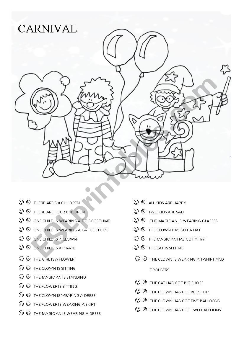 It S Carnival So Find Out The Correct Sentences Have Fun Carnival Carnival Crafts English Lessons For Kids [ 1169 x 826 Pixel ]