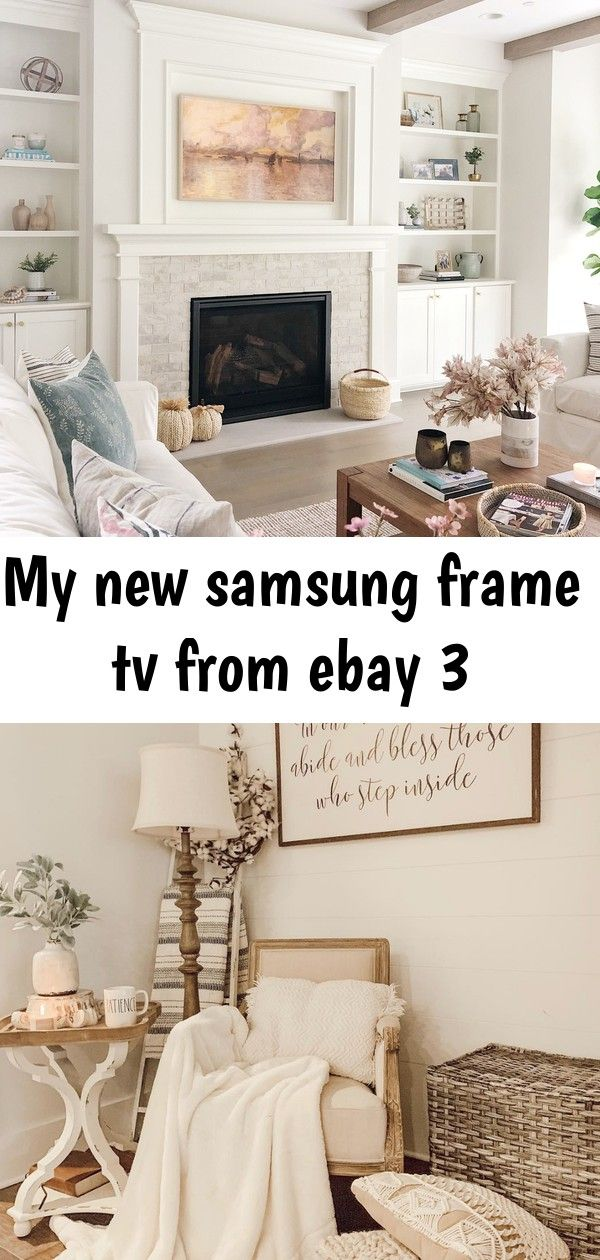 My new samsung frame tv from ebay 3 My New Samsung Frame TV from Ebay  Life On Cedar Lane farmhouse living room style by Kayla Herndon Vintage chic home with vintage sign...