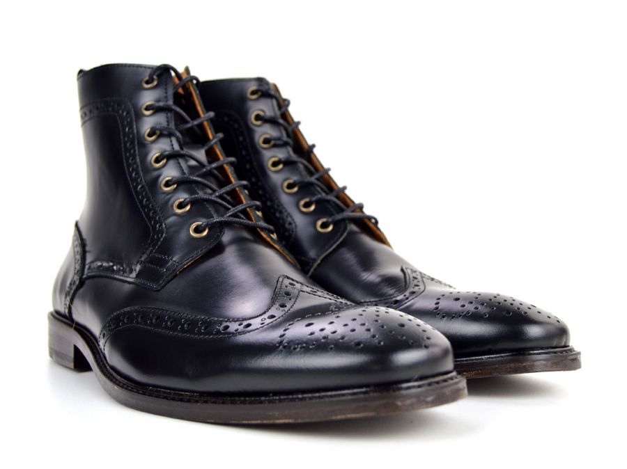 The Shelby Black Brogue Boots Peaky Blinders Inspired Mod Shoes Black Brogues Black Brogue Boots Brogue Boots