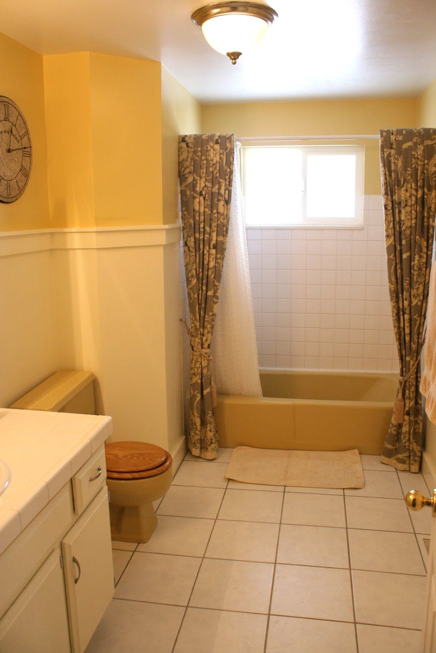 Mustard Yellow Tub And Toilet Updated Bathroom Yellow Bathrooms Brown Bathroom Bathroom Color Schemes