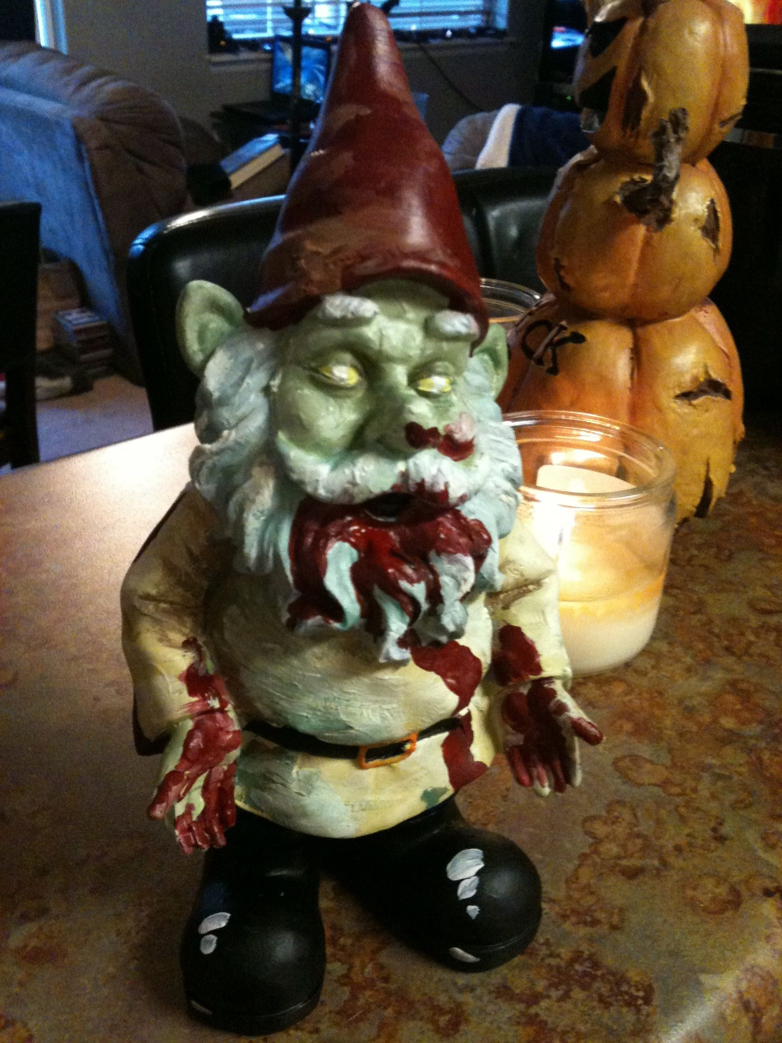 Hand Painted Zombie Lawn Gnome