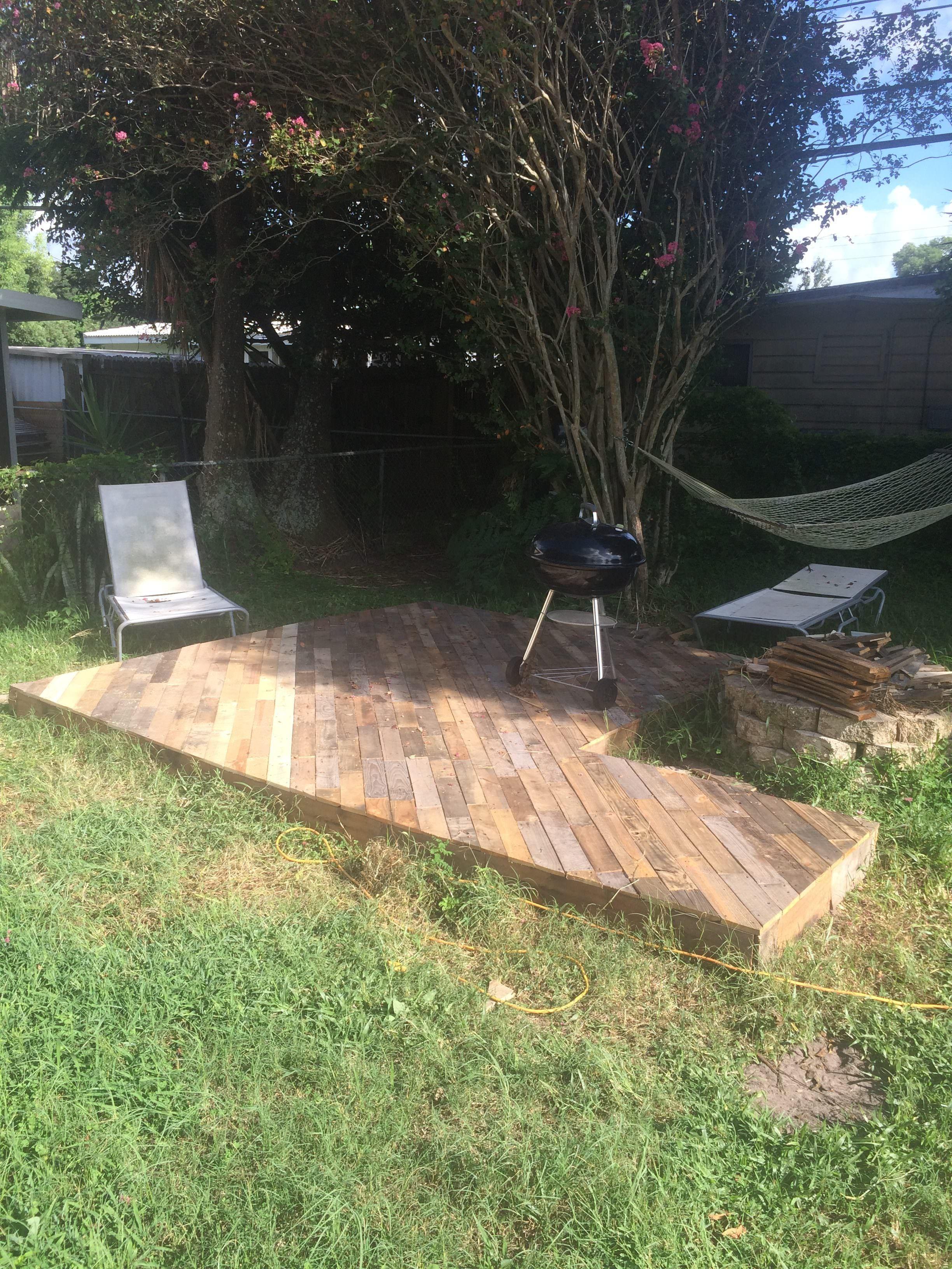 Patio Deck Out Of 16 Wooden Pallets • 16 Pallets  Pallet patio
