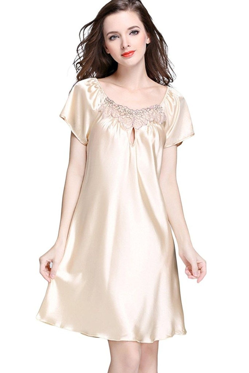 1f168fb213 Women s Lace Crew Neck Nightgown Short Sleeve Sleep Shirt Pajamas -  Champagne - CV17YSGHUOH