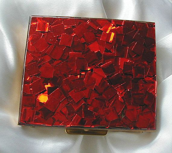 Vintage Compact Red Confetti Lucite Cover