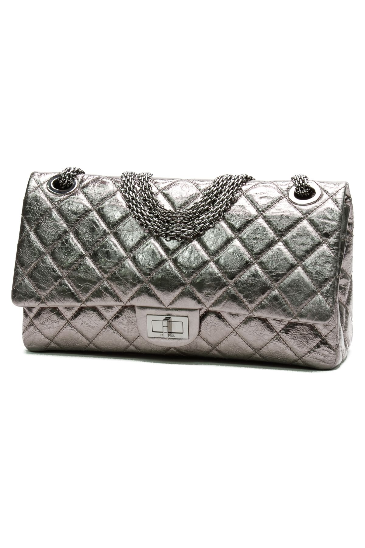 52f86d5890af7e Chanel Metallic Silver Calfskin Reissue 228 Flap Handbag | Put The ...