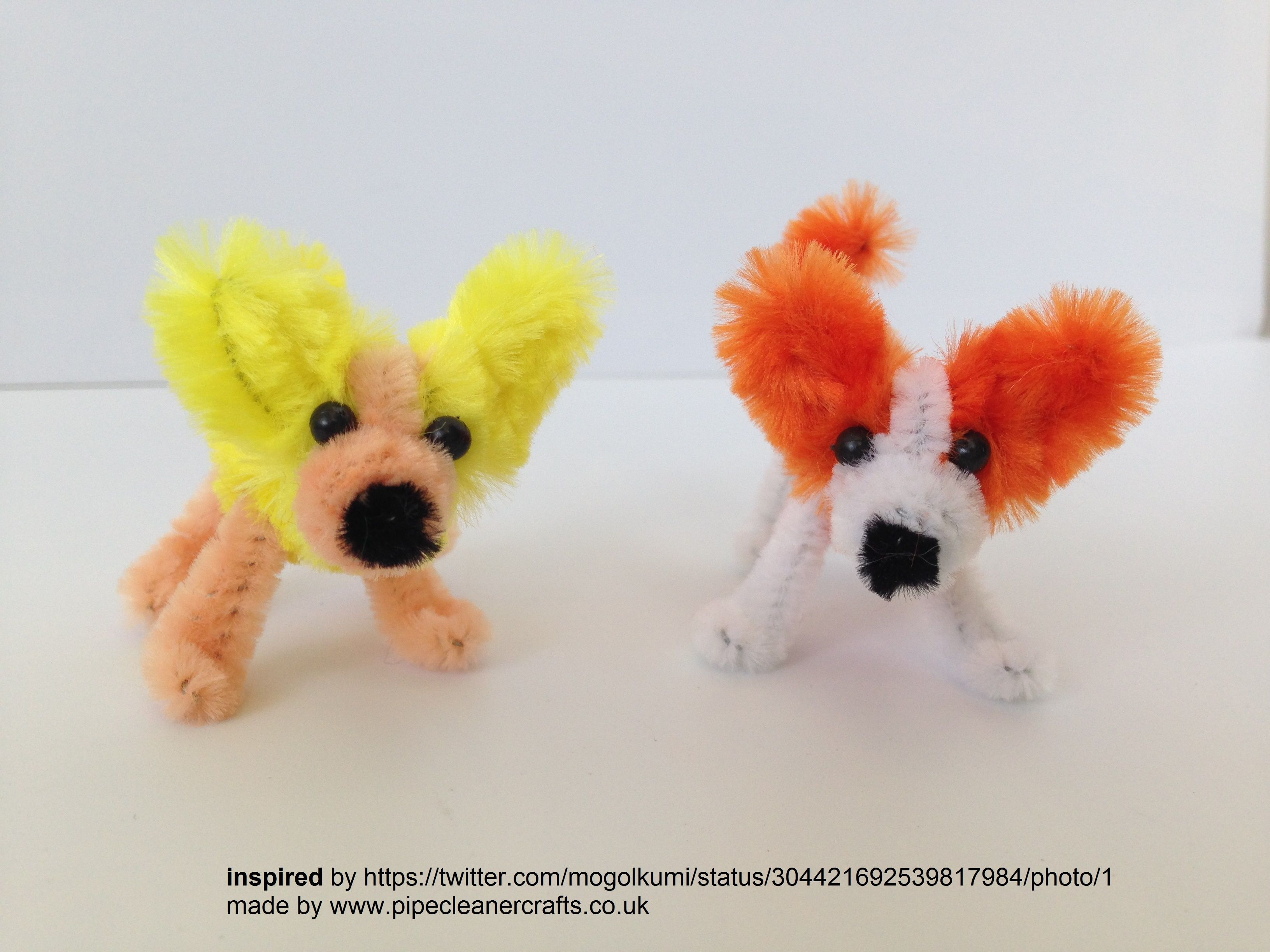 This dogs were INSPIRED by https://twitter.com/mogolkumi/status/304421692539817984/photo/1 I could only make them because the PALDA.co.il company sponsored me with these fluffy pipe cleaners