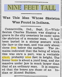 9 Foot Ancient Giant Human Unearthed In The Connersville Indiana Cemetery States Project Indiana Nephilim Giants
