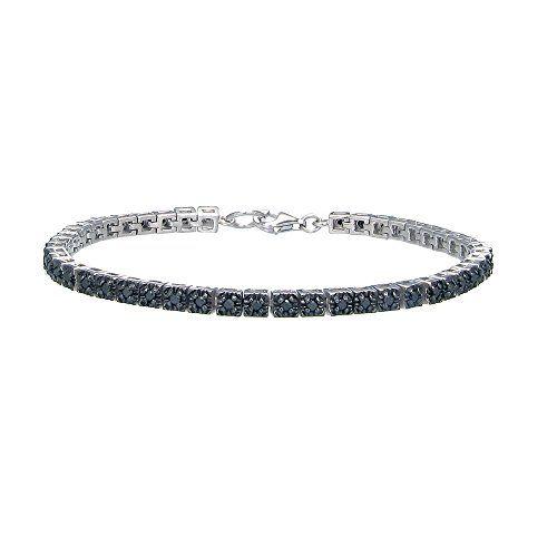 Sterling Silver Black Diamond Tennis Bracelet 1cttw I2 Clarity By Amazon Collection Black Diamond Bracelet