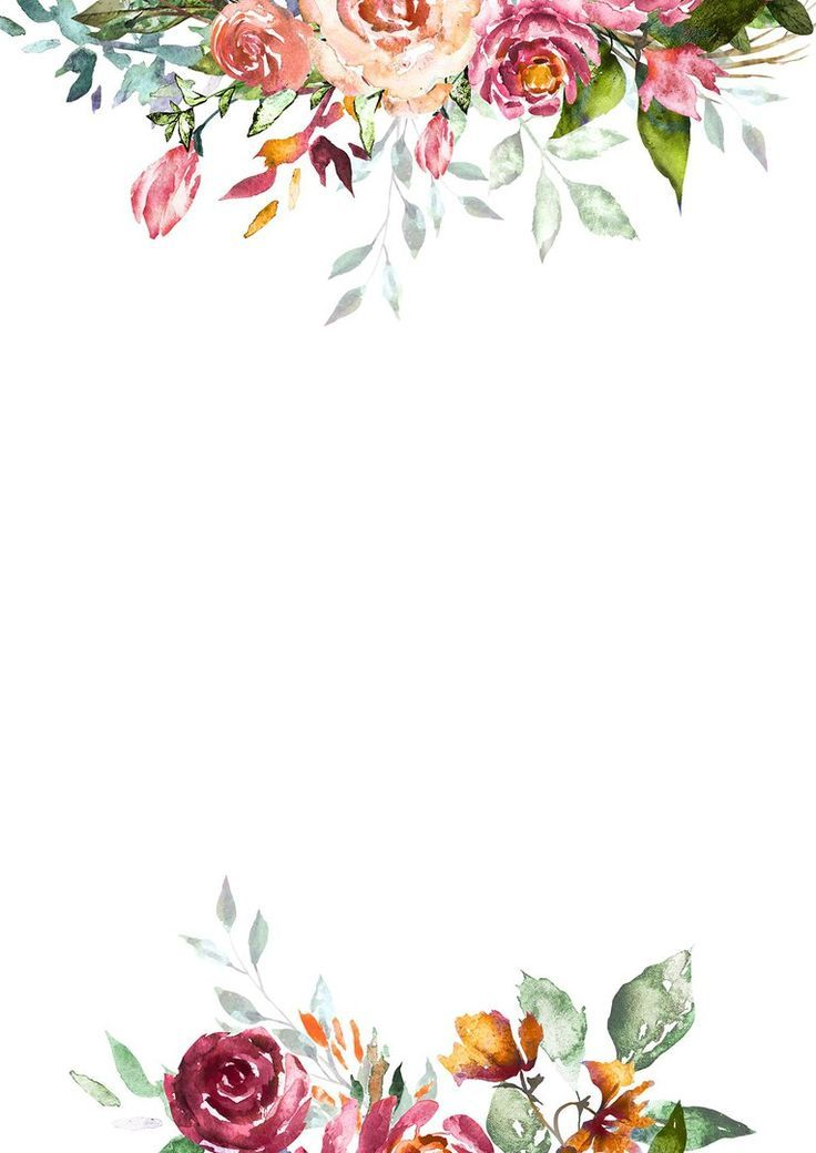 Hand Drawn Floral Watercolor Frame Quadro De Flores Convite De Casamento Quadros Imprimiveis