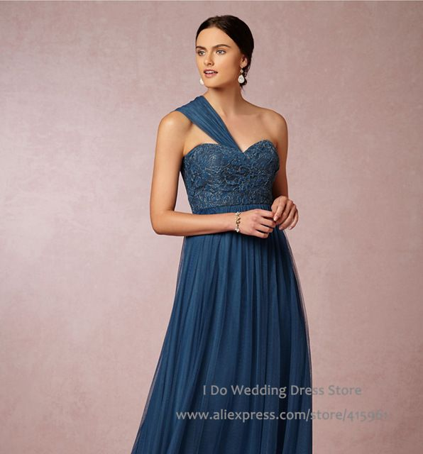 2016 Importado Barato Azul Marino Largos Vestidos de Dama de Menta ...