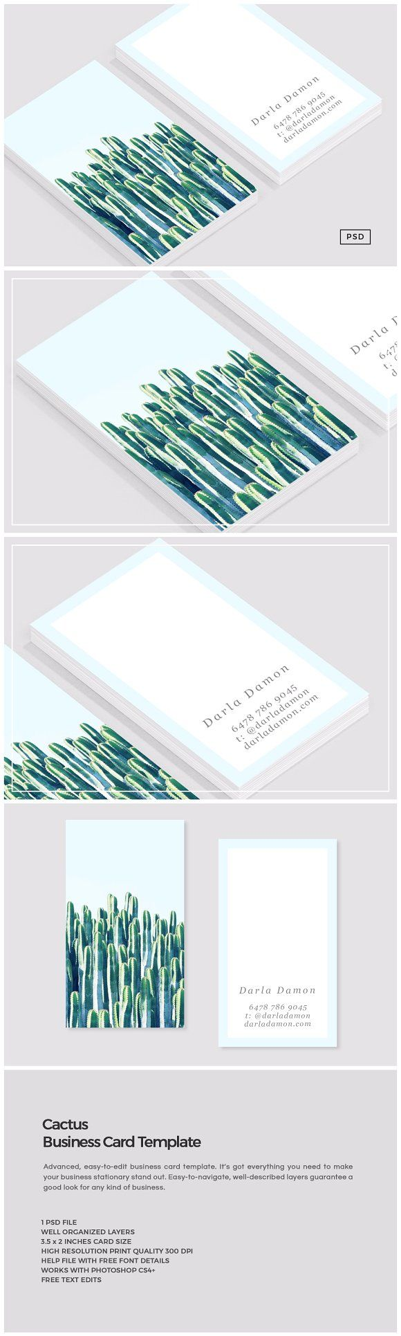 Cactus Business Card Template | Card templates, Business cards and Cacti