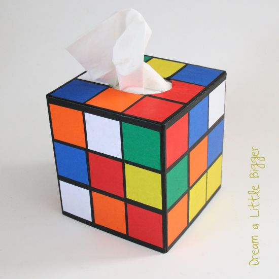 rubik 39 s cube tissue box cover tutorial kitsch the big. Black Bedroom Furniture Sets. Home Design Ideas