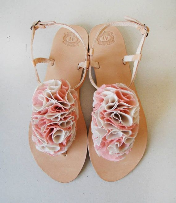 Bridal Shoes Handmade Leather Sandals With Beige And By