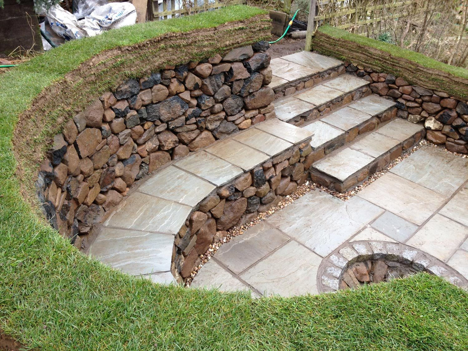 Diy stone fire pit with seating dry stone seating area for Backyard rock fire pit ideas