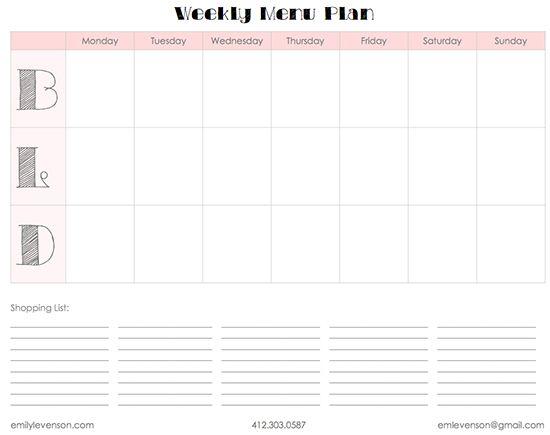 Weekly Menu Planner Template (FREE) Meal Planning Pinterest