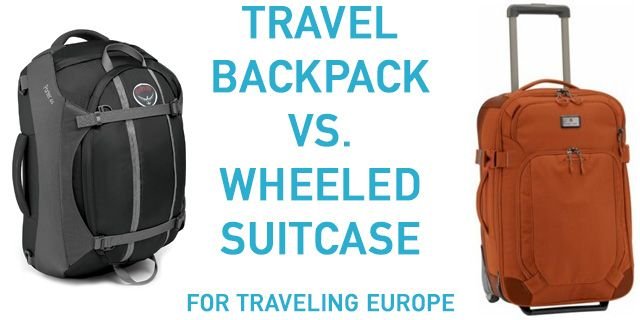 5529392ff How to choose between a travel backpack or a rolling suitcase for traveling  Europe. We review the advantages & disadvantages of both types of luggage.