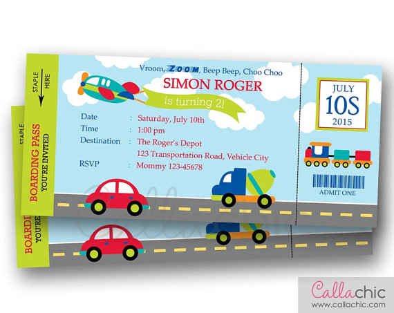 Transportation Ticket Invitation PRINTABLE - Boarding Pass Birthday - invitation letter for home party