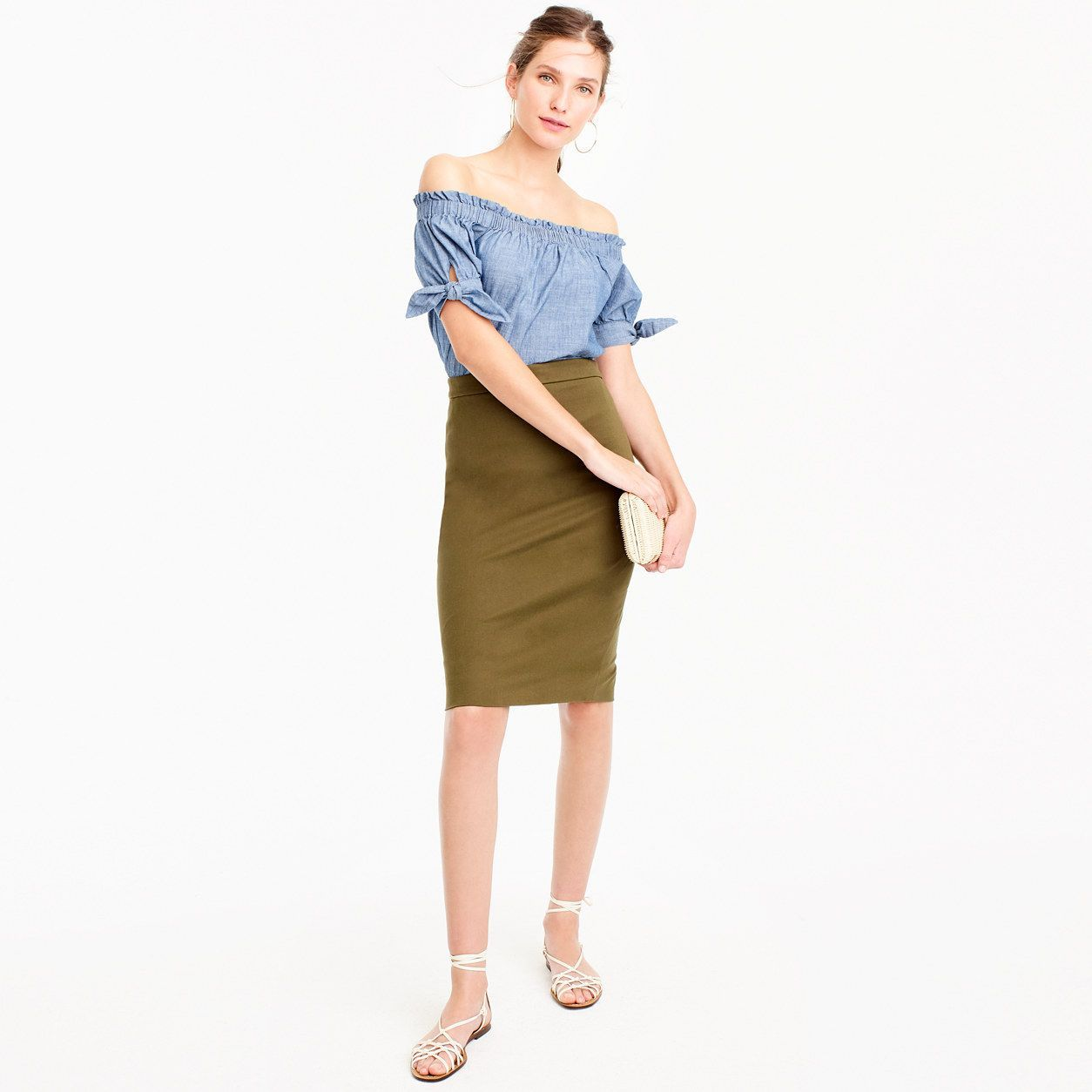 fa013e77fece J.Crew Womens Petite No. 2 Pencil Skirt In Two-Way Stretch Cotton (Size 12  Petite)