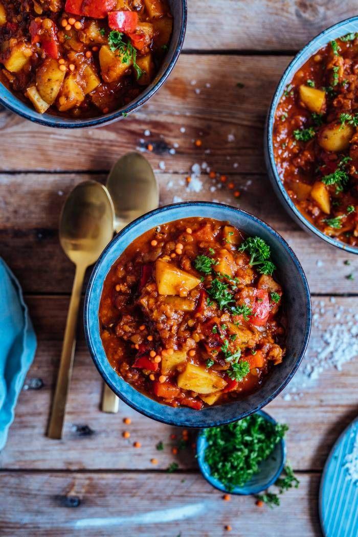 Paprika-Kartoffel-Topf mit Linsen: Schnell gekocht im Home-Office oder zum Feierabend ⋆ Knusperstübchen