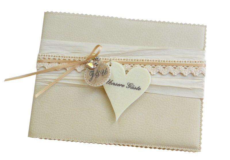 Hochzeitsgästebuch - Romantisches Gästebuch A5 ♥ creme ♥ Spitze &amp... - ein Designerstück von Bloomgart bei DaWanda