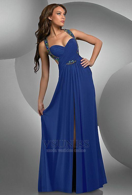 Vestido de fiesta azul electrico con cola