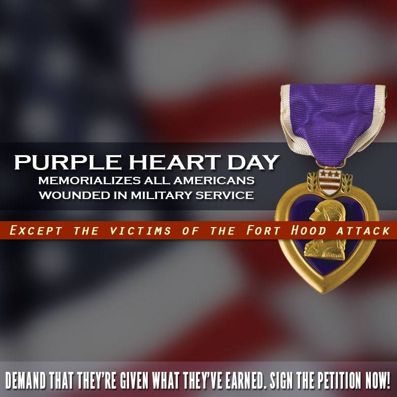 "Because the massacre at Fort Hood was deemed ""workplace violence"" and not an act of terror, the victims were not awarded Purple Hearts. Sign the petition to demand the medals and justice that they deserve: http://natl.re/FHterror"
