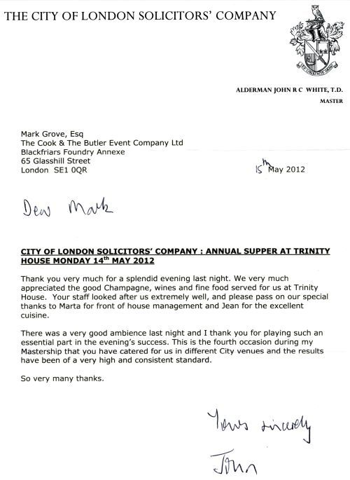 london solicitors company thank you letter following their annual - catering quotation sample