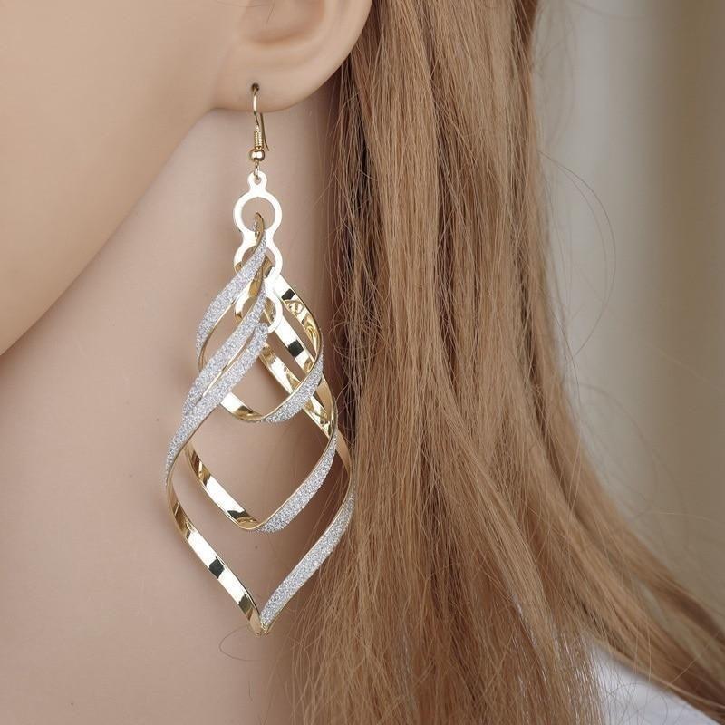 Charm Silver Hook Drop Dangle Women Lady Crystal Ear Stud Spiral Earrings