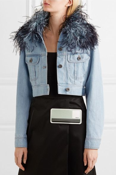 802e90094542 Prada - Cropped feather-trimmed denim jacket | Products | Jackets ...