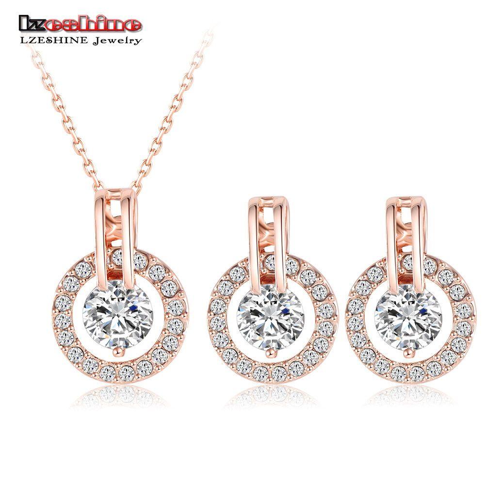 Wedding jewelry sets rose gold pendantearrings stud bridal fashion