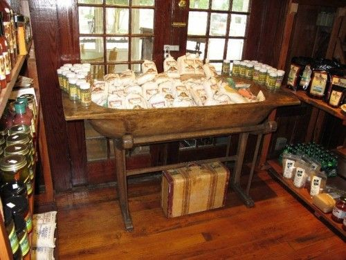 Our Antique Dough Bowl On Stand Is Used As A Country Store