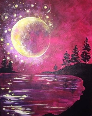 Huge Crescent Moon Painting With Bubbles And Pink Sky Beginner Canvas Painting Moon Painting Night Painting Night Sky Painting