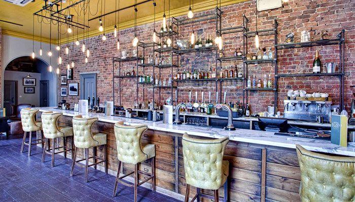 Rustic modern bar decor