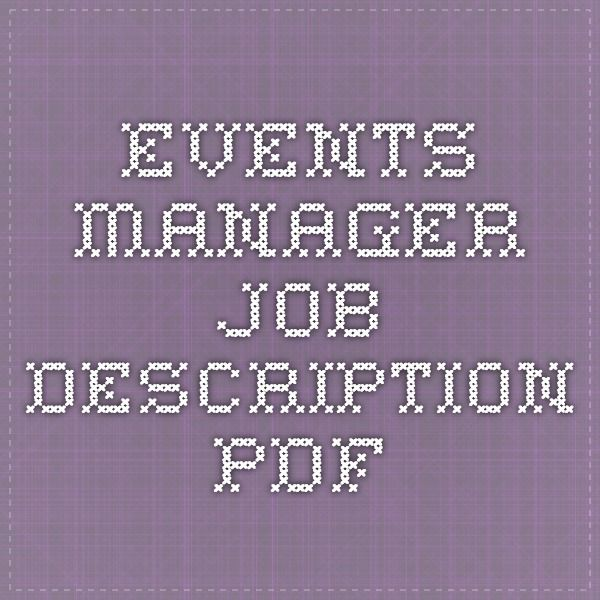 Events Manager Job Description Pdf  EventBanquet Management