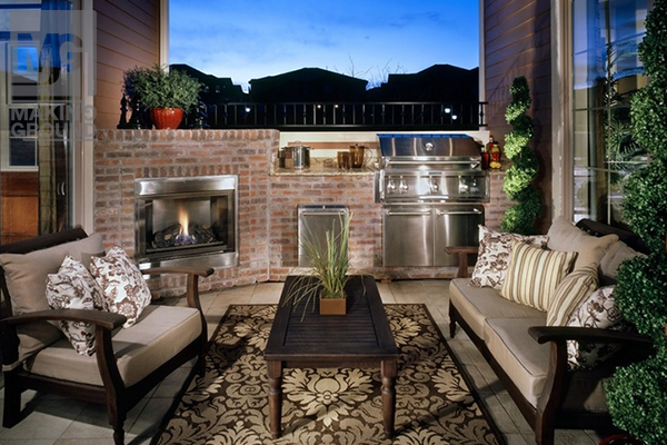 Outdoor entertainment area | Small outdoor kitchens, Small ... on Small Backyard Entertainment Area Ideas id=86060