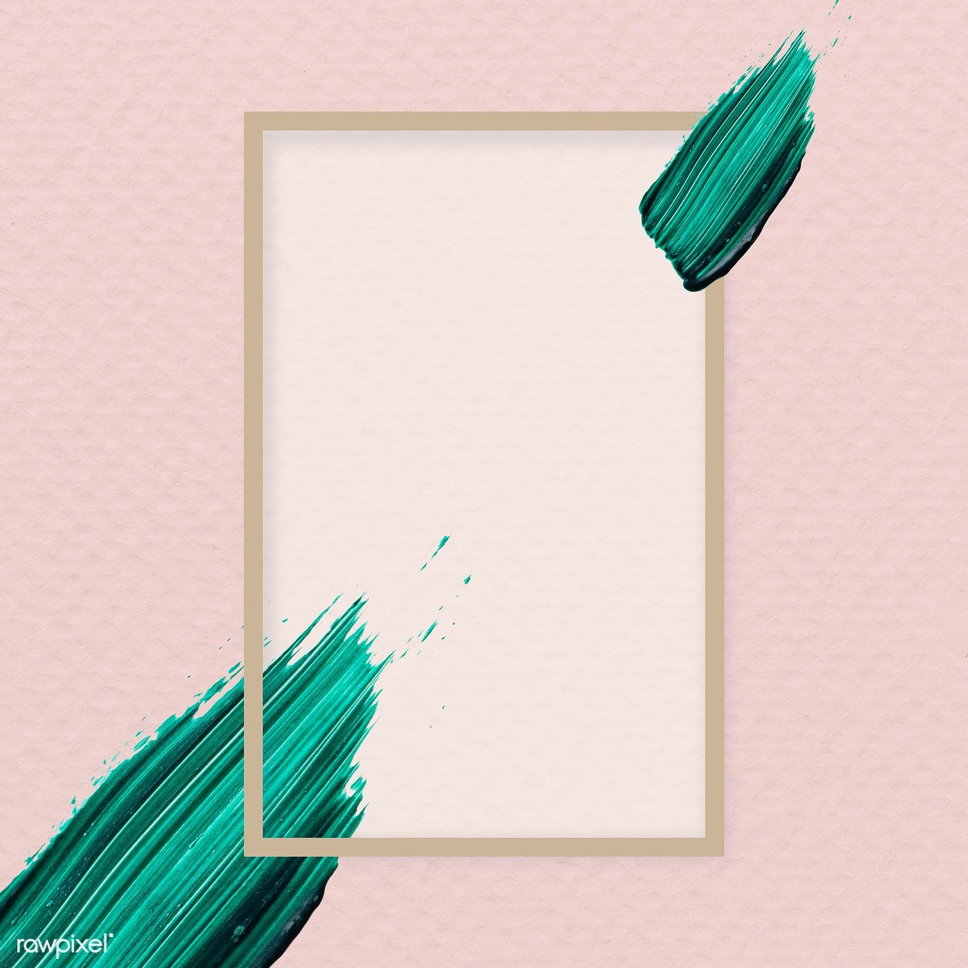 Green brush stroke on a frame vector free image by