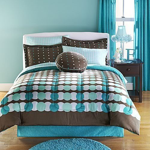 Teal Comforter King | Full Aqua Teal Brown Chocolate Comforter Set ...