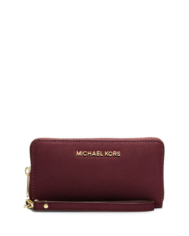 eeed2de8baf4 MICHAEL Michael Kors Jet Set Travel Saffiano Multifunction Tech Wristlet  Wallet